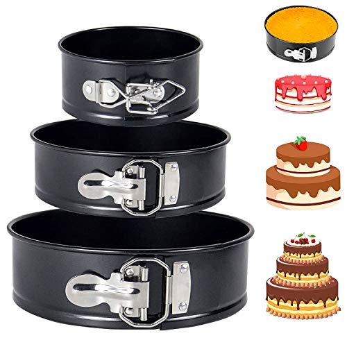 YISKY Kuchenformset, Kuchenform Rund, Antihaftbeschichtung Runde Backform mit Abnehmbarem Losen Boden für Küchenpartys und Hochzeiten, 3 Größen Enthält 4
