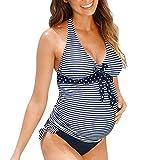 VECDY Bañador De Premamá Suave Moda Bikinis De Maternidad Tankinis Punto De Mujer Traje De Baño Traje De Playa Traje Embarazada(Azul,XL)