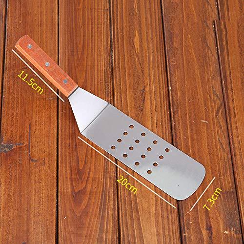 Keuken Teppanyaki roestvrijstalen steakschep Pizza rauwe frituurschop Handgreep cake tool Driehoekschop Pannenkoekenschop-Troffel met ronde kop_1