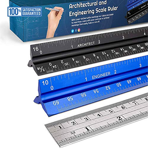 Crestone 12-Inch Architectural and Engineering Scale Ruler Set (Imperial)   Laser-Etched Aluminum Triangular Drafting Tool   for Architect and Civil Engineer Blueprints   Standard Metal Ruler Included