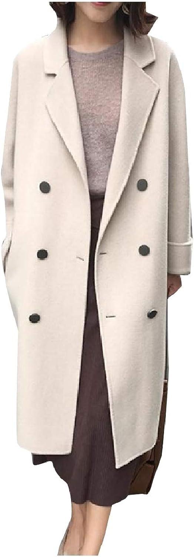 Abetteric Womens Double Button Woolen Long Maxi Overcoat Jackets Pea Coat