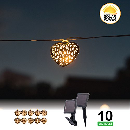 Touch of ECO CRYSTALITES Solar Powered LED String lights - Orb, Heart, or Star (Heart-Metal Decorative Bulbs)
