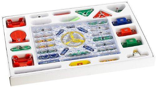 Playtastic Elektrobaukasten: 33-teiliger Elektronik-Baukasten mit Druckknopf-Technik (Elektro Bausatz)