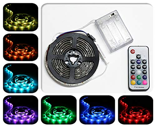 Battery Powered LED Strip Lights, Remote Controlled, Multi-Color Changing, DIY Indoor and Outdoor Decoration, 6.56ft/2M