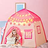Gentle Monster Kids Play Tent for Girls, Playhouse with Star Lights Indoor & Outdoor, Princess Castle Tent, Toys for 2+ Year Old Girls Birthday Gift