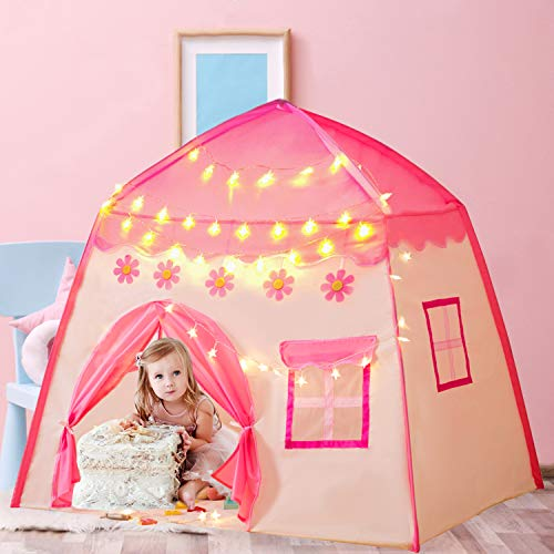 Gentle Monster Kids Play Tent Playhouse with Star Lights Indoor & Outdoor, Princess Castle Tent, Toys for 2+ Year Old Girls Birthday Gift