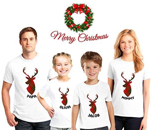 Reindeer Family Christmas Pajama Matching Shirts,Family Christmas pajama tees