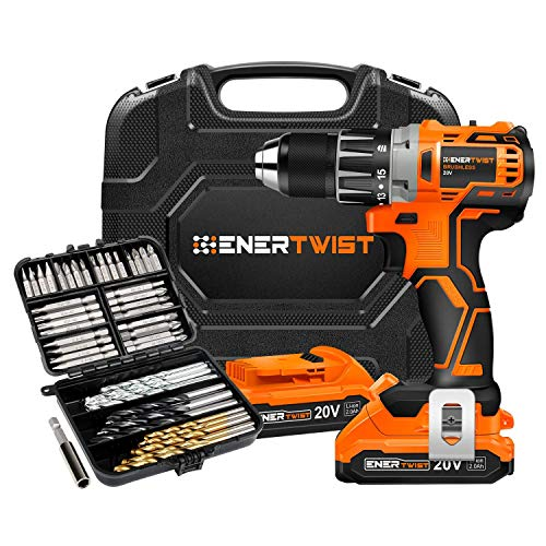 EnerTwist 20V Max Cordless Brushless Drill Driver and 95-Pieces Drill Bits Set Combo Kit