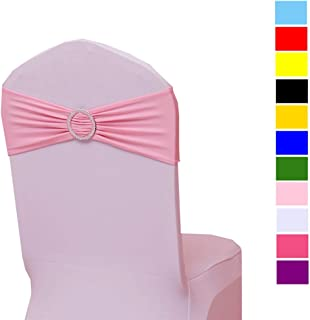 Fvstar 20pcs Pink Chair Sashes Bows Ties with Buckle Spandex Stretch Wedding Party Banquet Chair Cover Decorations