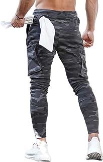 Usmley Pantalones de Fitness de Camuflaje Casual para Hombres Pantalones de chándal con Cremallera y Cintura elástica Tran...