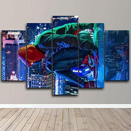 GHYTR 5 Piezas Cuadro sobre Lienzo De Fotos Hombre Araña Escalofriante Lienzo Impresión Cuadros Decoracion Salon Grandes Cuadros para Dormitorios Modernos Mural Pared 5 Partes Carteles Regalo