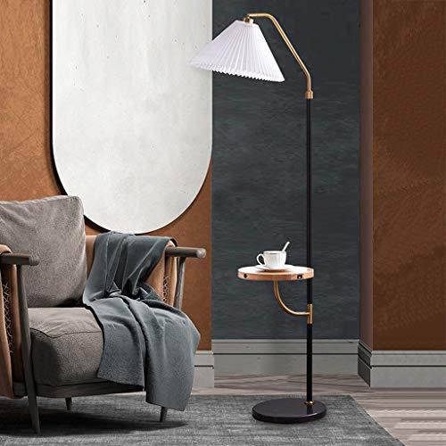 JDKC- Lámpara de Pie Regulable con Estantes de Almacenamiento, Sombra Plisada, Luz de Pie con Control Táctil, 3 Temperaturas de Color, para Sala de Estar, Dormitorio, Oficina (Color : Walnut Color)