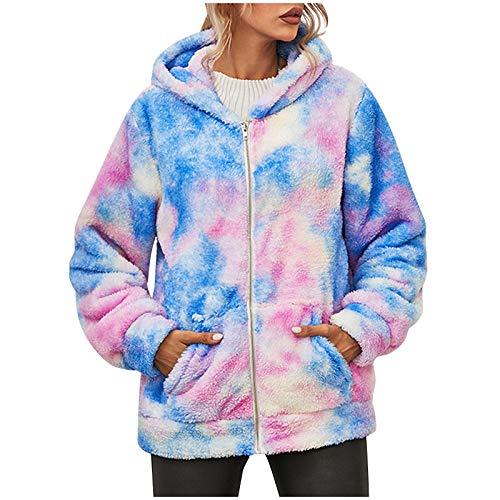 Lazzboy Wintermantel Damen Langarm Tie-dye Printed Hooded Zipper Plüsch Jackenmantel Plüschjacke Kapuzenjacke Mantel Warm Strickjacke Mit Kapuze Und Taschen (Blau,2XL)