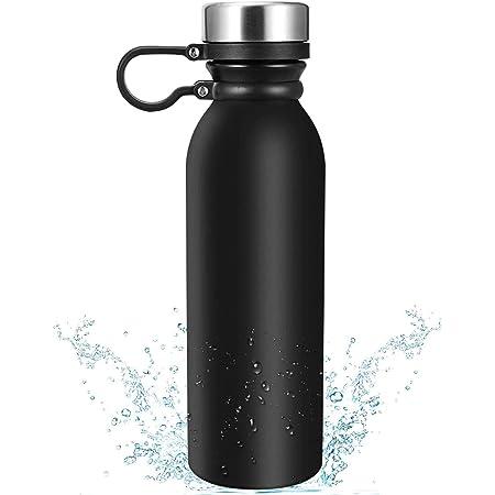 Stainless Steel Water Bottle|20 oz Vacuum Insulated Water Bottle|Insulated Double Wall Water Bottle Keep Hot & Cold,Leak Proof Sports Bottle,Wide Mouth Lids with Finger Belt-Black