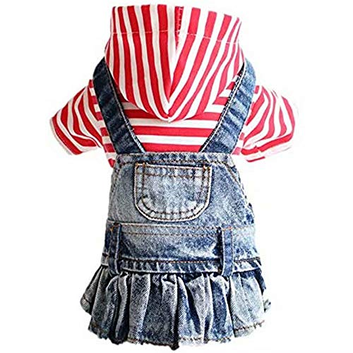 PETCARE Dog Dress Clothes Girl for Puppy Small Medium Dogs Cats Pet Birthday Denim Skirt Red/Blue Striped Hoodies