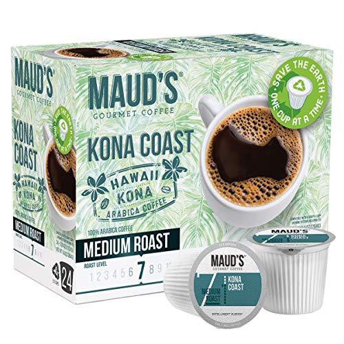 Maud's Kona Coffee Blend (Kona Coast), 24ct. Recyclable Single Serve Medium Dark Roast Kona Coffee Pods – 100% Arabica Coffee California Roasted, Keurig Dark Roast Kona K Cups Compatible Including 2.0