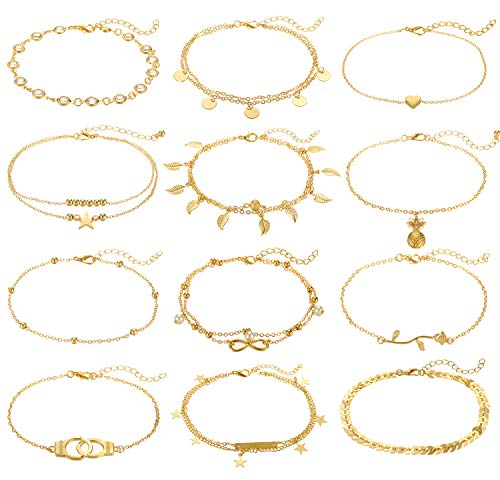 FUNEIA 12-16Pcs Anklets for Women Silver Gold Ankle Bracelets Set Boho Layered Beach Adjustable Chain Anklet Foot Jewelry