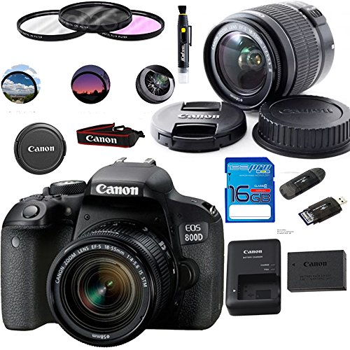 EOS 800D Digital SLR Camera with 18-55 is STM Lens Black - Deal-Expo Essential Accessories Bundle
