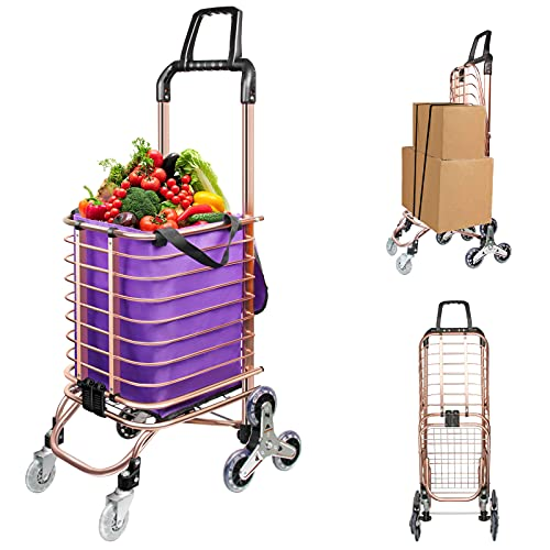 Miffynall Folding Carts Heavy Duty Shopping Cart Utility Lightweight Stair Climbing cart with Removable Waterproof Canvas Bag