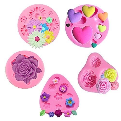 SIMUER 3D Blumen Form Silikon Backform Fondant Ausstechform Kuchen Fondant Dekorieren Schokoladenform DIY handgefertigt Tools 5 Stück (Rosa)