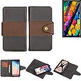 K-S-Trade Funda Teléfono Celular Estuche Cubierta Bookstyle para -TCL PLEX- Parachoques Protección Integral Negro-marrón 1x