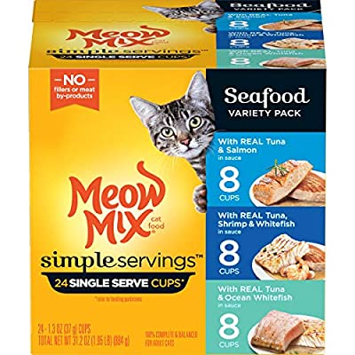 Meow Mix Simple Servings Wet Cat Food, Seafood Variety Pack, 1.3 Ounce Cup (Pack of 24)