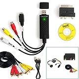 Glueckme Carte de Capture USB 2.0 Video Grabber Convertir Un convertisseur numérique VHS en DVD avec Adaptateur péritel et câble RCA