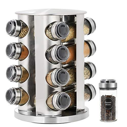 SMRONAR - Portaspezie con 16 barattoli per spezie, girevole a 360°, in acciaio INOX, decorazione in stile artistico, per casa e cucina