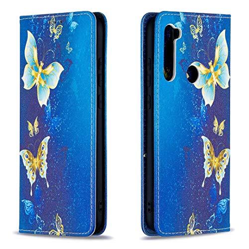 Miagon Brieftasche Hülle für Xiaomi Redmi Note 8T,Kreativ Gemalt Handytasche Case PU Leder Geldbörse mit Kartenfach Wallet Cover Klapphülle,Gold Schmetterling