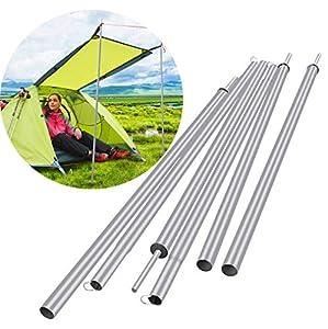 JO&FO - Barra de soporte de hierro para tienda de campaña, postes de lona de hierro ajustable, reemplazo de polos, soporte plegable ligero para camping, toldos, refugios
