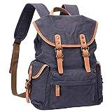 WITZMAN Canvas Backpack For Men Women Leather Trim Casual Daypack Hiking Travel Rucksack (W0104 Dark Gray)