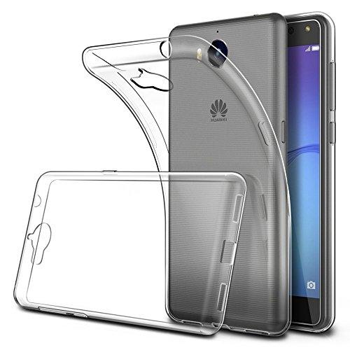 REY Funda Carcasa Gel Transparente para Huawei Y6 2017 - Y5 2017, Ultra Fina 0,33mm, Silicona TPU de Alta Resistencia y Flexibilidad