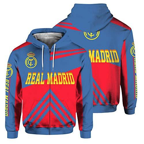 JKAINI Männer Kapuzenpullover Zipper Sweatshirt - Real Madrid Club De Fútbol Football Fans Sportswear Langarm Kapuzenjacke Red + Blue-XXXL