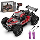 QUN FENG Remote Control Car-1:16 2WD RC Cars 18km/h Fast RC CAR Off-Road Vehicle 2.4GHz Radio Racing Cars with 2 Rechargeable Batteries Toys Gift for Boys 8-12 Years Kids(Red)