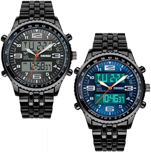 Tuipong Reloj Deportivo Relojes Deportivos 30 Metros Impermeables Militares Dos Zonas horarias con función de Calendario dial Reloj Digital led Alarma Calendario Relojes -Negro+Azul