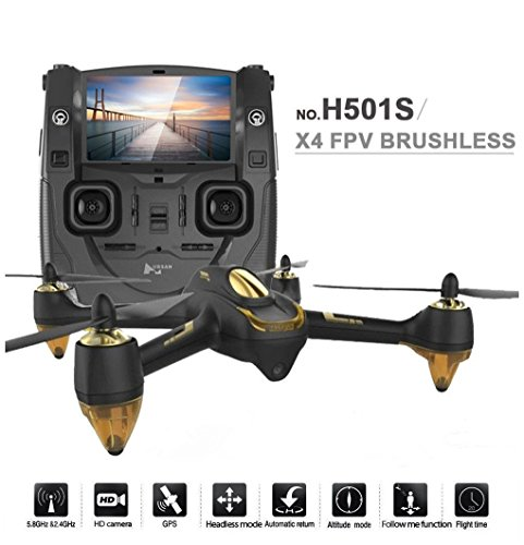 Hubsan-H501S-Brushless-motor-Drone-58G-LCD-Screen-Real-Time-with-1080PAltitude-Hold-Headless-Mode-One-Key-OperationFollow-me-2-Batteries-Black