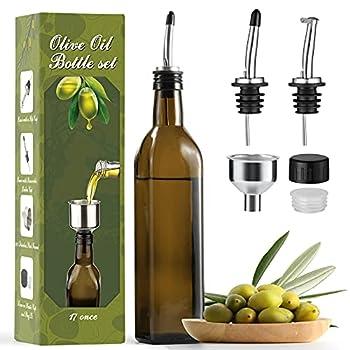 AOZITA 17oz Glass Olive Oil Dispenser - Oil and Vinegar Cruet Bottle with Stainless Steel Pourers - Funnel For Easy Refill - Olive Oil Carafe Decanter for Kitchen