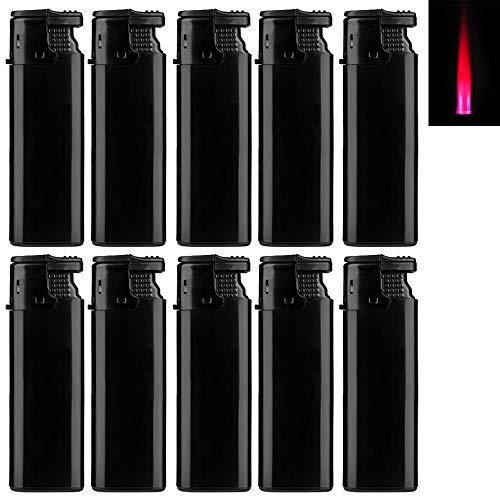 Bulentini Turbo Sturmfeuerzeug Black ZS 1-10, ROTE Flamme Gas Jet Flame Lighter (10x Schwarz (10 Feuerzeuge))