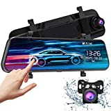 VTIN 10' FHD Mirror Dash Cam with Full Touch Screen, Dual 1080P Water Resistant Backup Camera Car Rear View Mirror Reversing Camera, Enhanced Night Vision/Parking Monitor/Loop Recording/Emergency Lock