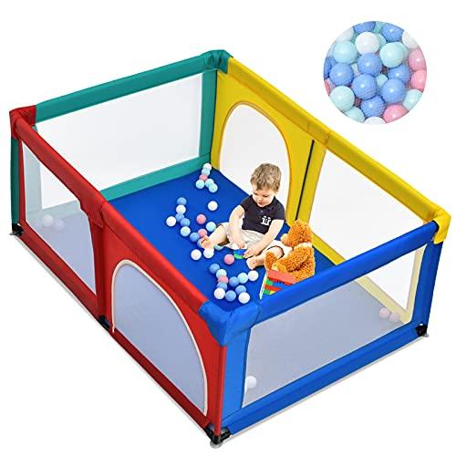 COSTWAY 120 x 190cm Baby Laufstall mit 50 Spielbällen, Laufgitter mit atmungsaktivem Netz und Reißverschluss, Krabbelgitter 2 Türen, Laufgitterzelt für Säuglinge und Kleinkinder
