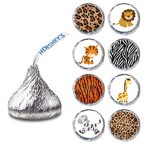 Dschungel-Safari-Tier Etikette für HERSHEY'S KISSES® Pralinen - Süßigkeiten Aufkleber Partei-Bevorzugung - Satz von 240