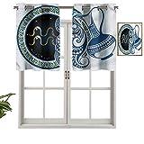 Hiiiman Cenefa de cortinas opacas con ojales y letrero de acuario, juego de 1, 132 x 45 cm para decoración del salón o dormitorio