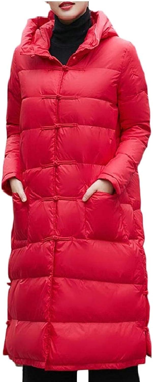 Gocgt Women's Thicken Warm Hoodie Down Jacket Fashion Zipper Long Overcoats