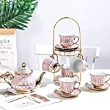 RDJSHOP British Porcelain Tea Sets, Ceramic Teapot with Cups and Saucers Set with Cup Holder Stand Ceramic Tea Service for Adults Afternoon Tea Set,Pink