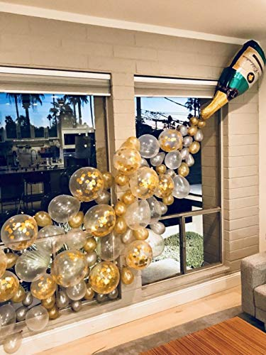 Champagne Bottle Balloons, Confetti Balloons, Latex Balloons 40PCS, Party Balloons Garland for Decorations, Christmas Eve, Bridal Hen/Bachelor Party Baby Shower Happy Birthday Wedding Celebration