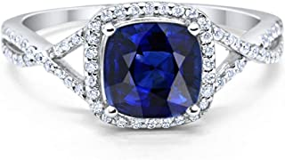 Blue Apple Co. Halo Infinity Shank Engagement Ring Cushion Created Round Cubic Zirconia 925 Sterling Silver Choose Color