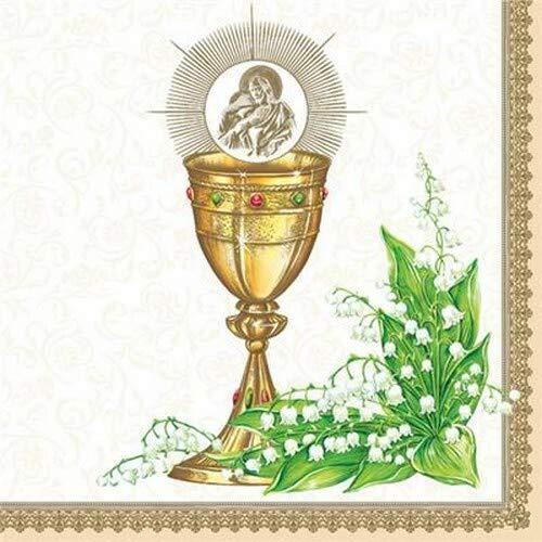 20 Servietten Kelch an Maiglöckchen Gold zur Kommunion, Konfirmation und Taufe für Jungen und Mädchen 33x33cm