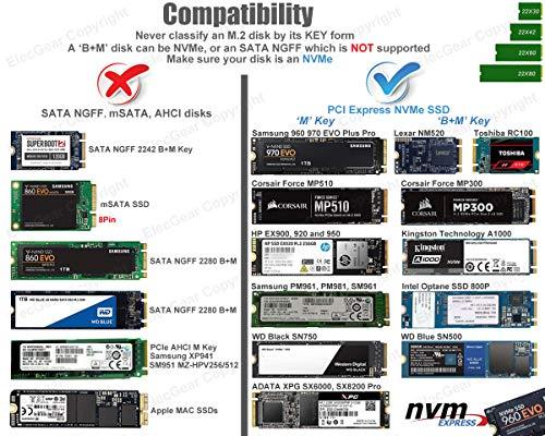 USB 3.1 Externes Festplatte Gehäuse für NVMe PCIe M.2 SSD - ElecGear NV-C01 Aluminium Kühler Adapter Case, 10Gbps NVMe USB C Gen2 Festplattengehäuse, 2242/2280 M2 Enclosure mit USB Typ A und C Kabel