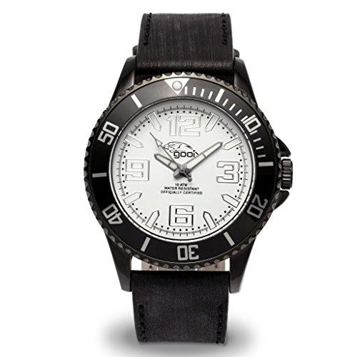 gooix GX06005001 Uhr Herrenuhr Lederarmband Edelstahl 10 bar Analog Datum Schwarz