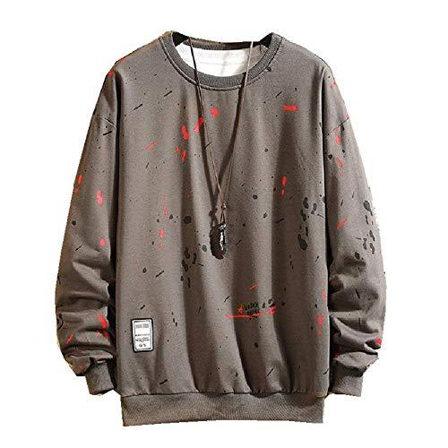 Nobrand New Trend in Early Spring Herren bedruckter Rundhalsausschnitt, lange Ärmel, lässiger Pullover Gr. XX-Large, grau